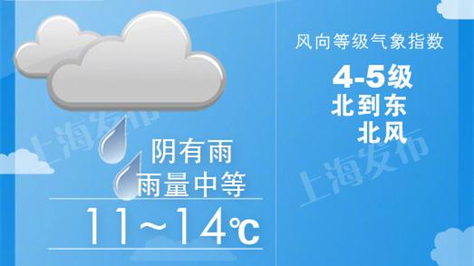 明天申城阴有中雨降温4度 后天再降3度