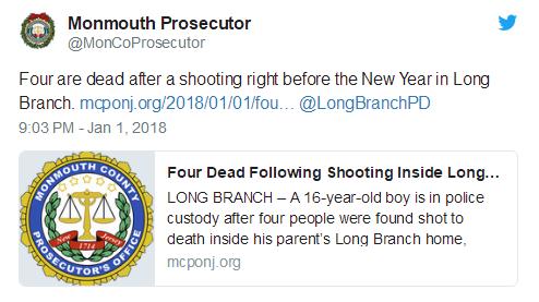 美新泽西州16岁少年枪杀父母姐姐 造成4人死亡