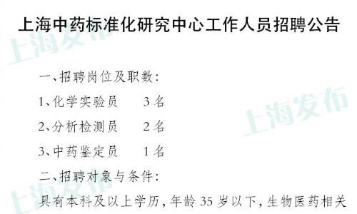 上海中药标准化研究中心公开招聘6名工作人员,1月31日截止报名!