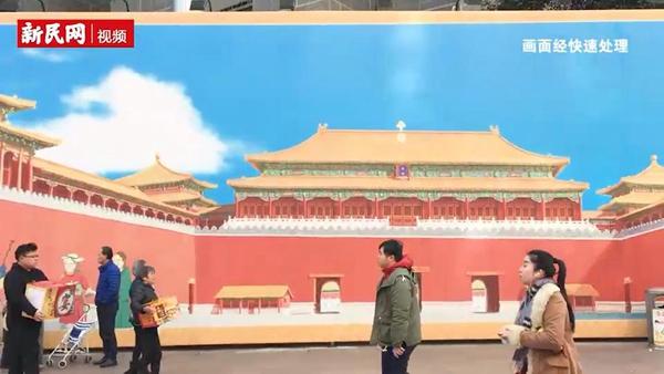"""158米巨型画卷将""""故宫""""搬到南京路"""