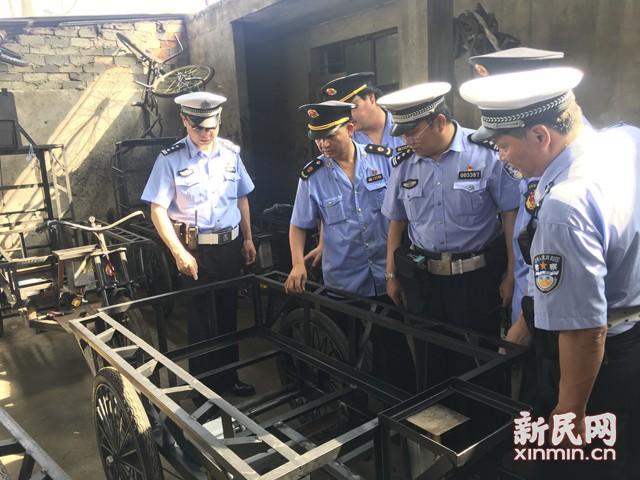 上海交警一举捣毁非法制售改装人力三轮车窝点