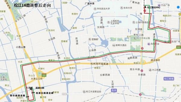 松江16路、松江40路公交将调整线路