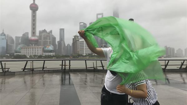 与台风安比搏击下的外滩·长江大桥·崇明岸堤