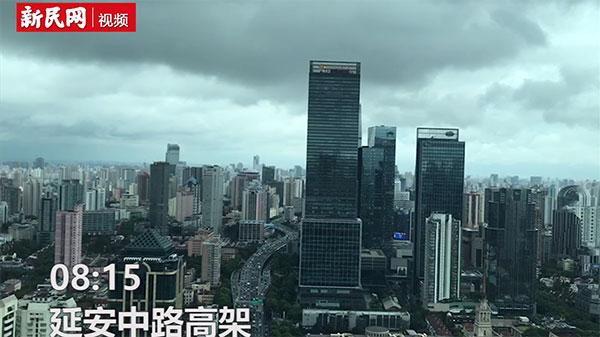 """在台风""""云雀""""逼近上海的早晨,街上是这样的……"""