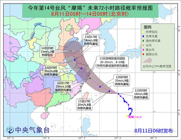 """申城今日有阵雨 台风""""摩羯""""或于明晚登陆浙江沿海"""