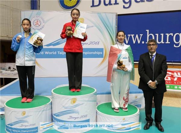 上海女硕士朱宏燕勇夺太极世界冠军