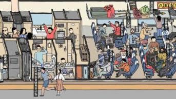 """3名研究生绘制春运""""清明上河图"""" 2米画卷有219人"""