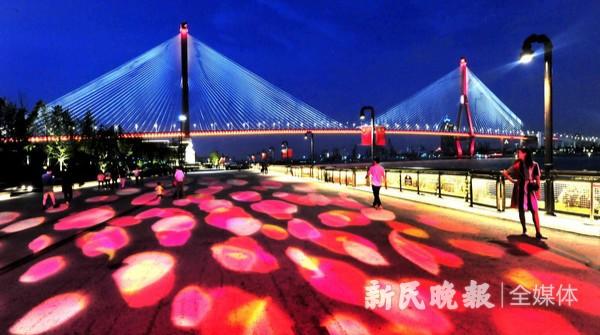 投影灯点缀杨浦滨江  夜色更显如梦如幻