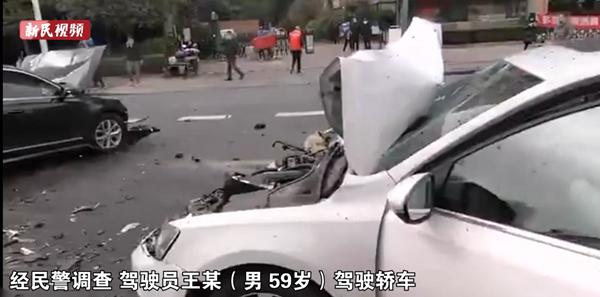 视频   上海东方路发生一起三车事故 系司机操作不当