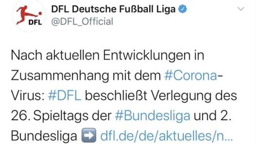 德甲本周比赛推迟,欧战与五大联赛已全部暂停