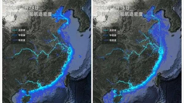最新卫星图:上海港口流量快速攀升,航路日益繁忙