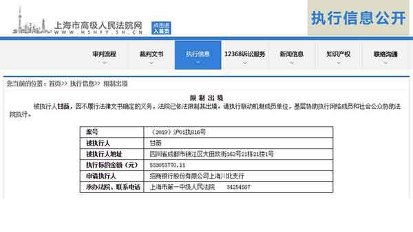 甘薇不履行法律文书义务被限制出境,涉及执行金额5.33亿