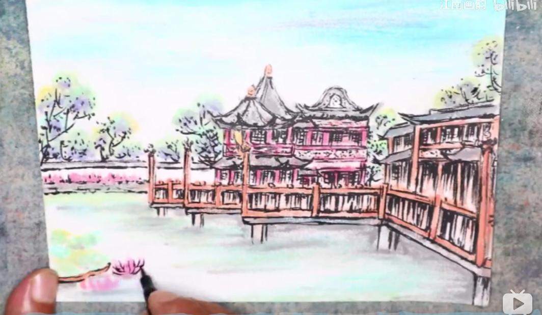 好看又心疼!老爸用女儿500元的绝版口红,画出了上海豫园~