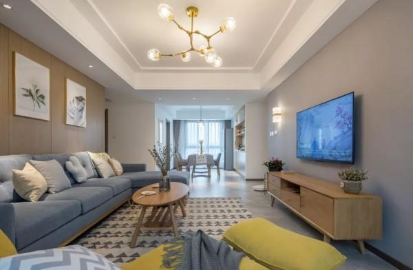 121平的简约风三居室,灰、白、木打造的舒适之家