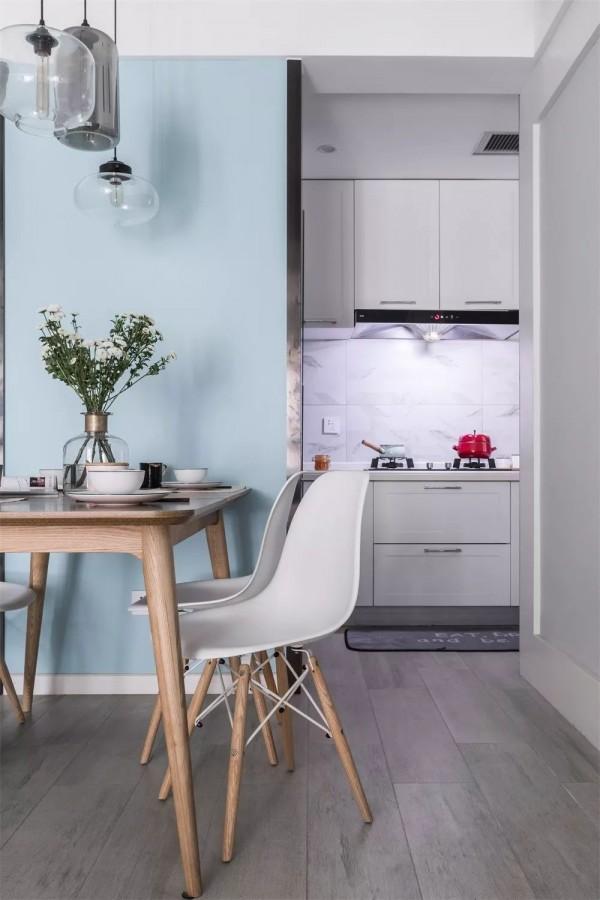 115平的北欧风小三房,小清新的蓝色和灰色墙面,好喜欢