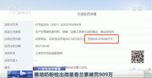 """无添加婴儿奶粉有""""奶香""""?涉4.5万罐!上海罚雅培909万元!"""