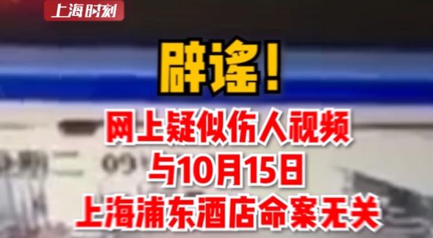 视频   辟谣!网上疑似伤人视频与10月15日上海浦东酒店命案无关